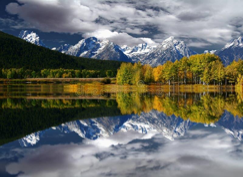 Teton Mountain Reflection stock image
