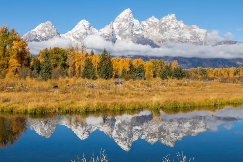 Teton sc?nique Autumn Reflection Landscape image stock