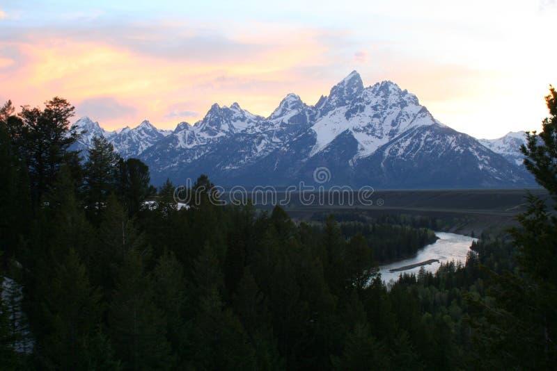 Tetons bij Zonsondergang stock foto's