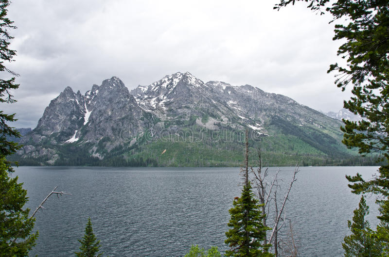 The Tetons. The Grand Tetons against overcast skies and light fog with Jenny Lake creating a beautiful scenery royalty free stock photo