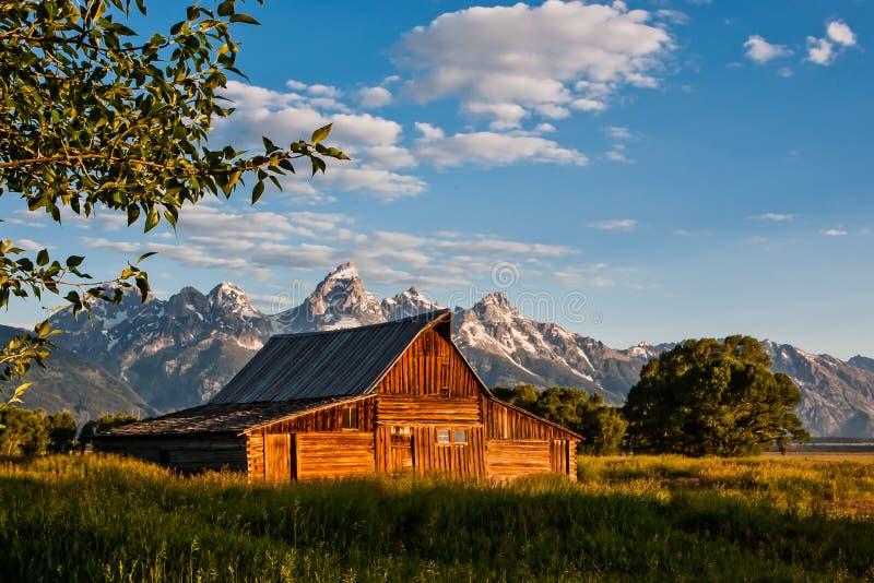 Tetons grand et vieille grange photo libre de droits
