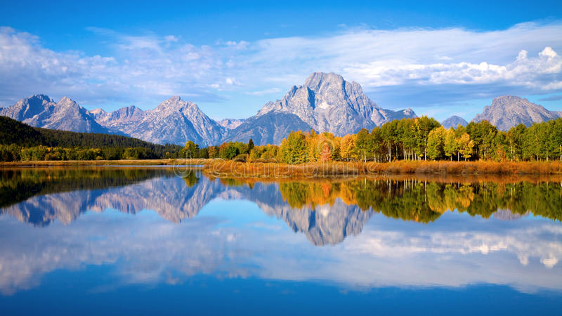 Tetons at Oxbow Bend royalty free stock images