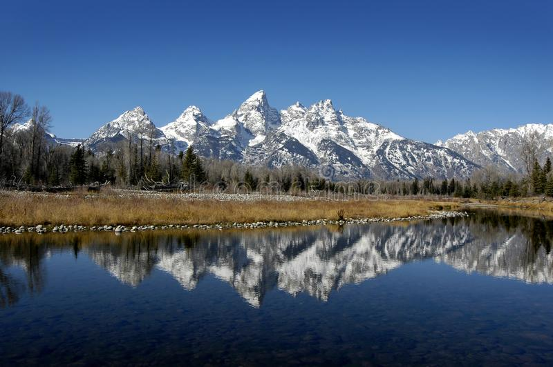 Tetons Reflection in River stock photography