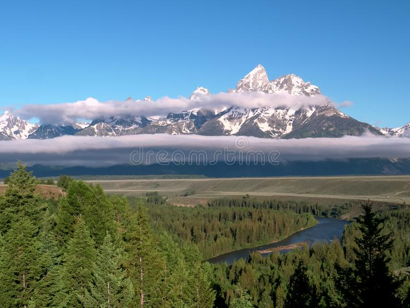 The tetons and snake river tetons from an overlook in the grand tetons national park in the us. The tetons and snake river tetons from an overlook in the grand stock photos
