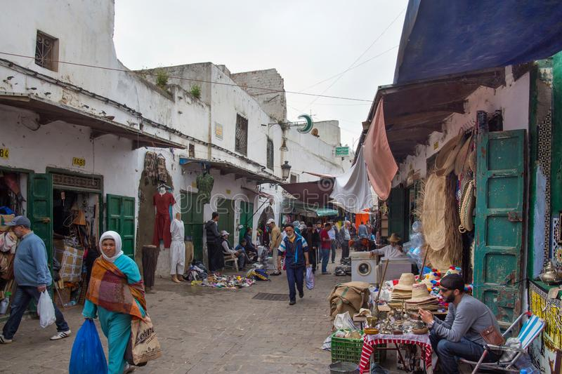 TETOUAN, MOROCCO - MAY 24, 2017: Locals people on the old flea market in Tetouan Medina quarter. In Northern Morocco royalty free stock images