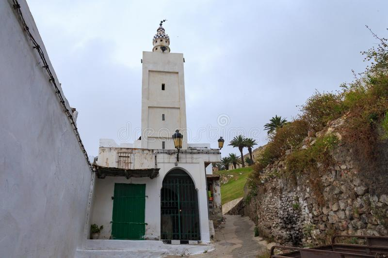 TETOUAN, MOROCCO - MAY 24, 2017: Old ancient minaret in Tetouan Northern Morocco. In historical center of the city stock photo