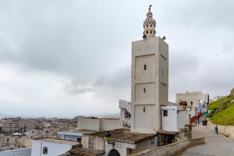TETOUAN, MOROCCO - MAY 24, 2017: Old ancient minaret in Tetouan Northern Morocco. In historical center of the city royalty free stock photo