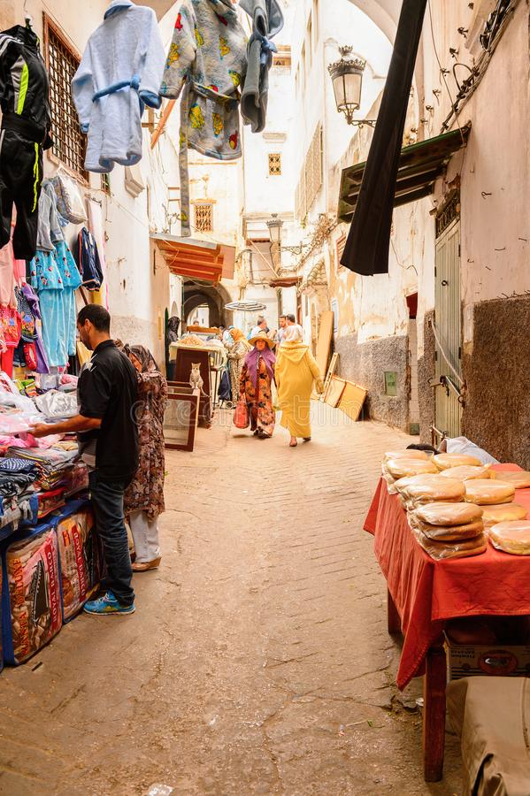Tetouan, Morocco. SEP 11, 2015: Market place at Tetouan, a city in northern Morocco. Tetouan is one of the two major ports of Morocco on the Mediterranean Sea stock photo