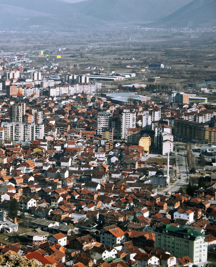 Tetovo, Macedonia. Aerial view of city of Tetovo, Macedonia stock photography