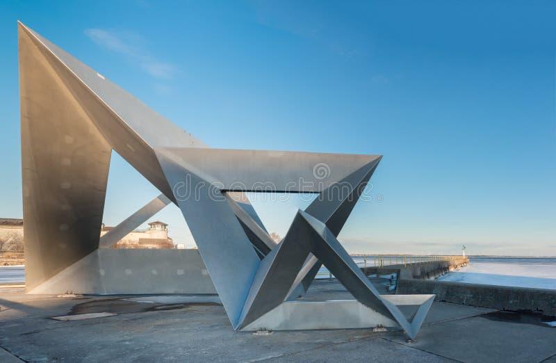 Tetra escultura Kingston, Ontario, Canadá imagen de archivo