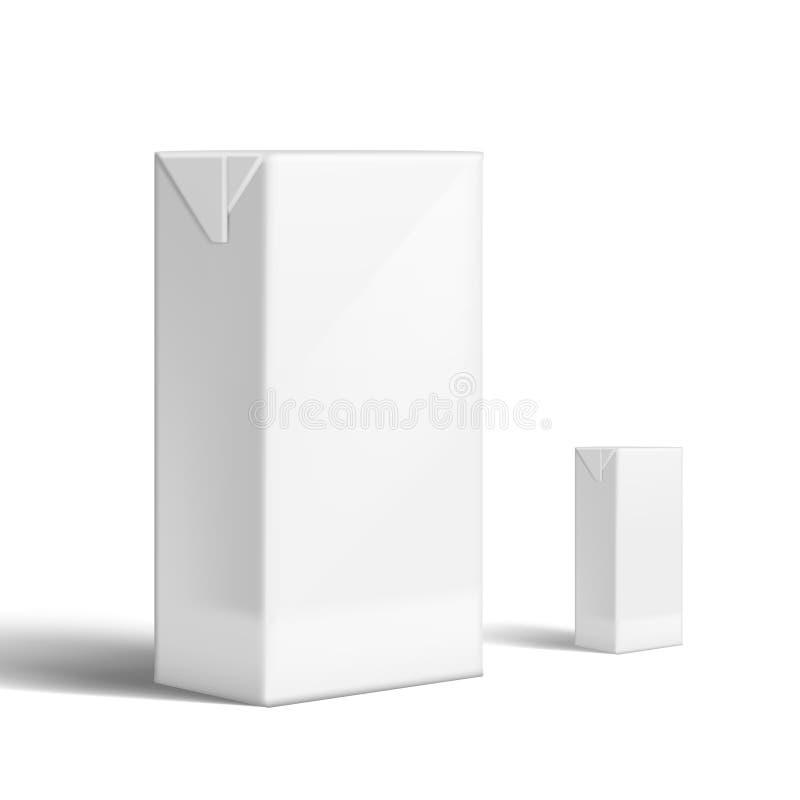 Tetra marcado en caliente realista de la leche o de Juice Clear White Packaging For del paquete ilustración del vector