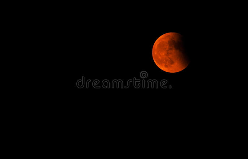 Tetrad Passover of Blood Moon. This is the Tetrad Passover of Blood Moon when Lunar Eclipse was happenning on the evening of October 8, 2014. Take in Chongqing royalty free stock image