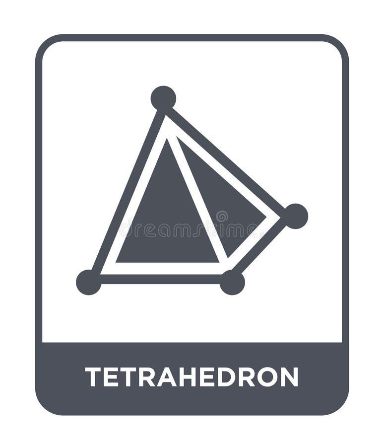 Tetraederikone in der modischen Entwurfsart Tetraederikone lokalisiert auf weißem Hintergrund Tetraedervektorikone einfach und mo stock abbildung