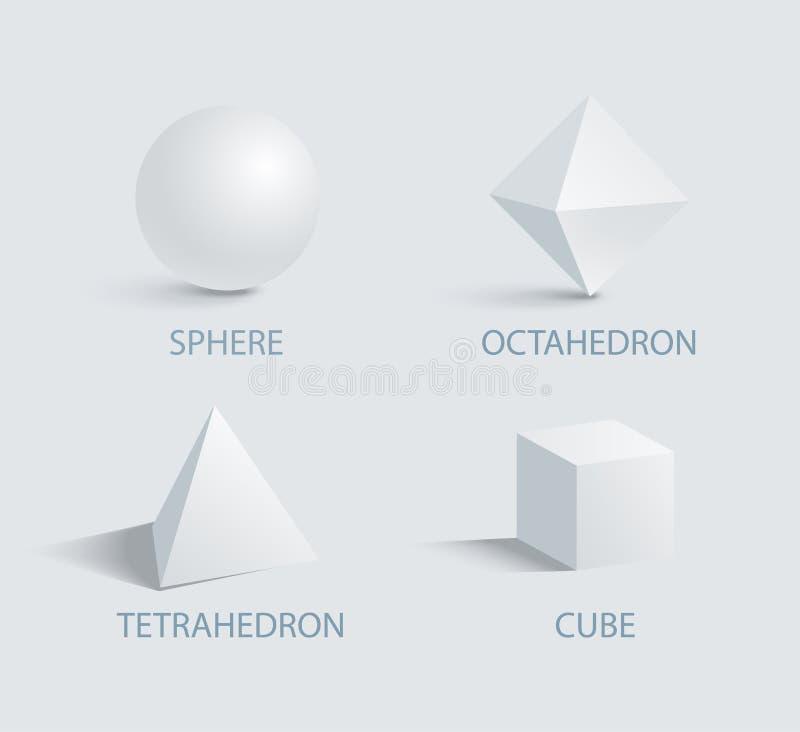 Tetraedro del octaedro de la esfera y vector del cubo 3D ilustración del vector