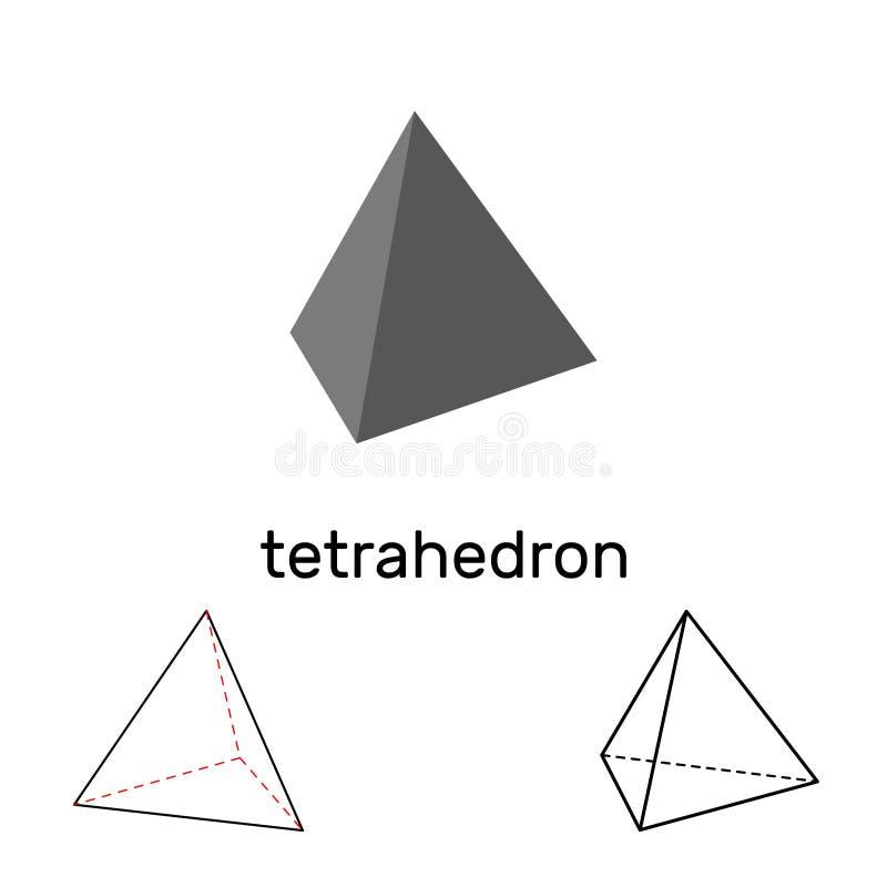 tetraedro Dimensión de una variable geométrica Aislado en el fondo blanco stock de ilustración