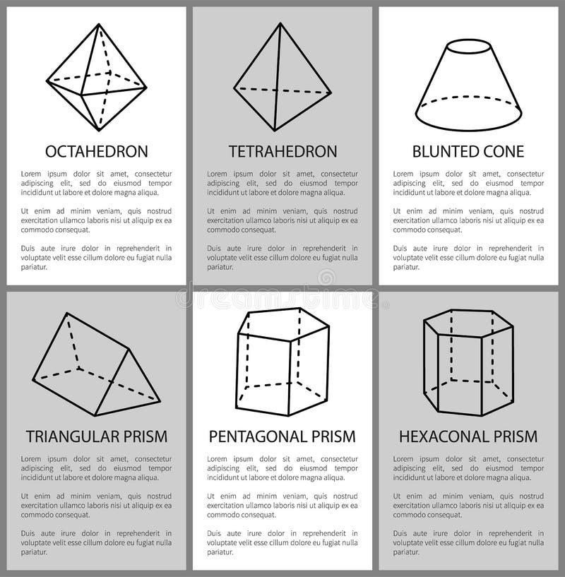 Tetraedro ed ottaedro, schizzo del prisma del Pentagono royalty illustrazione gratis