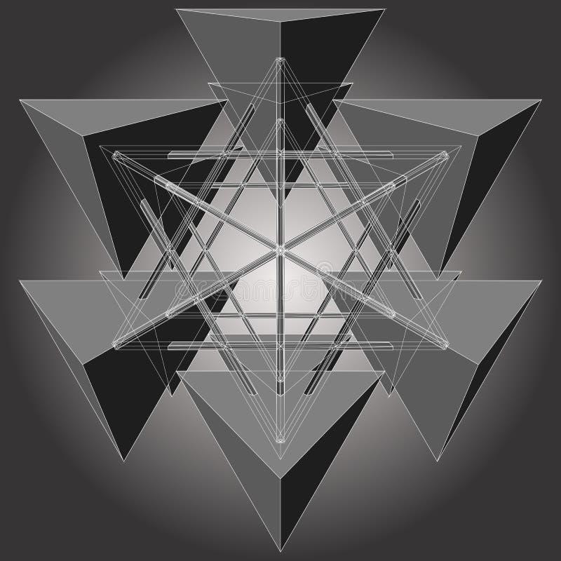 Tetrageder zes maakt tot Ster Geometrische Vector royalty-vrije illustratie