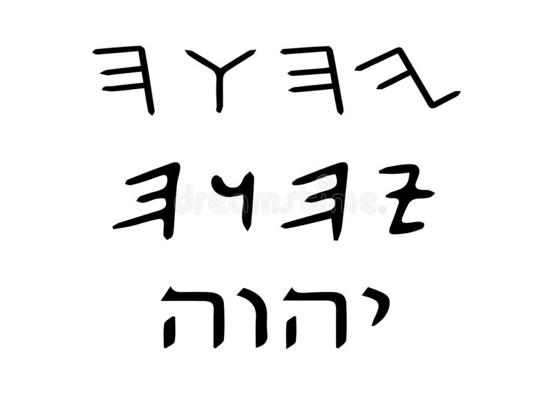 The tetragrammaton : יהוה in Hebrew and YHWH in Latin script, is the four-letter biblical name of the God of Israel. Judaism. The tetragrammaton royalty free illustration