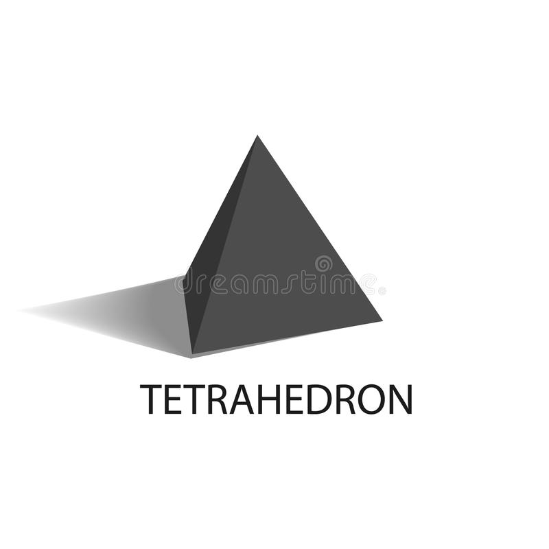 Tetrahedron Geometric Figure with Sharp Angles. Tetrahedron black geometric figure with sharp angles and even size sides in shape of regular triangles that casts stock illustration