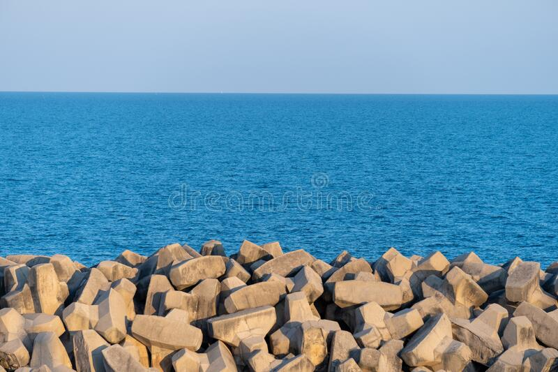 Tetrapods breakwater, a structure in coastal engineering used to prevent erosion caused by sea wave and strong wind and protect stock images