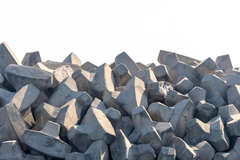 Tetrapods breakwater, a structure in coastal engineering used to prevent erosion caused by sea wave and strong wind and protect royalty free stock photography