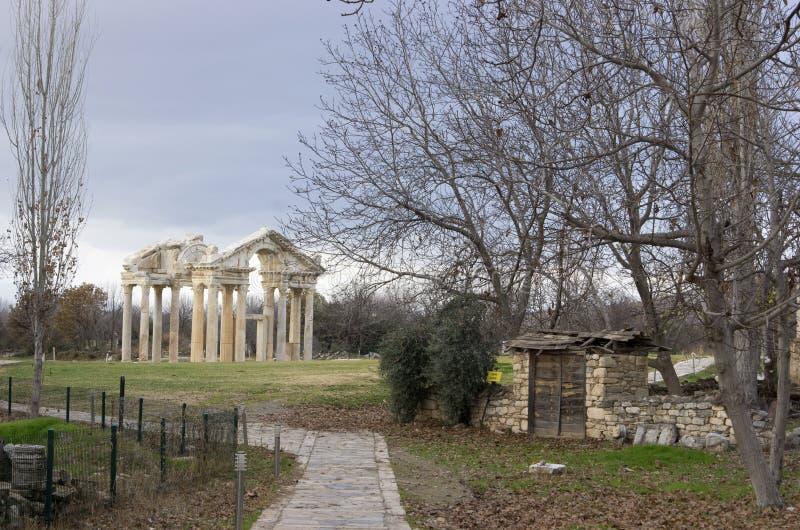 Tetrapylon der Aphrodisias-alten Stadt, Aydin/die Türkei stockfoto