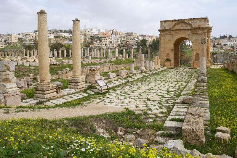 Tetrapylon en Jerash, Jordania imagen de archivo libre de regalías