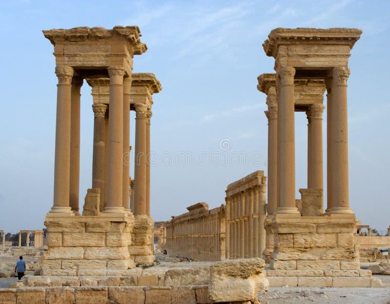 Tetrapylon, Palmyra, Syrië stock foto