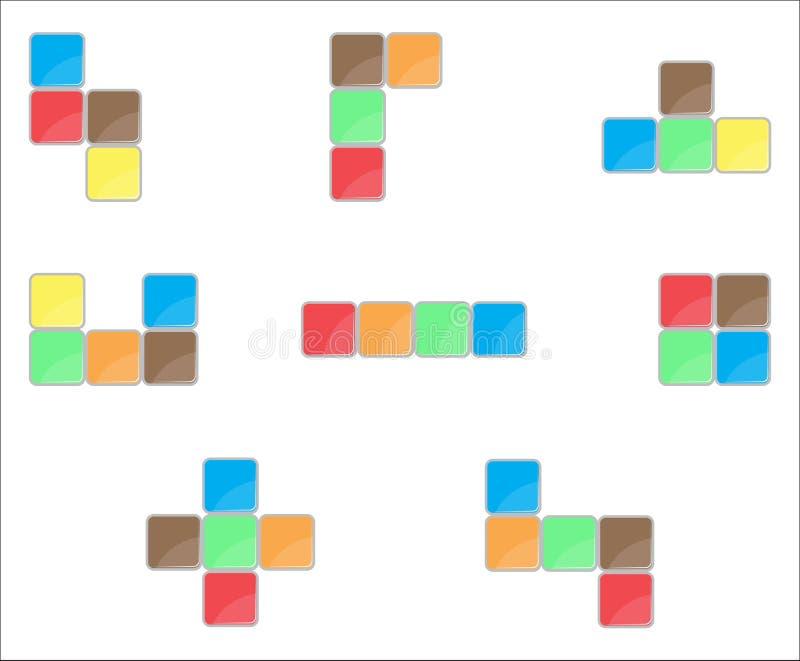 Tetris元素集颜色设计 皇族释放例证