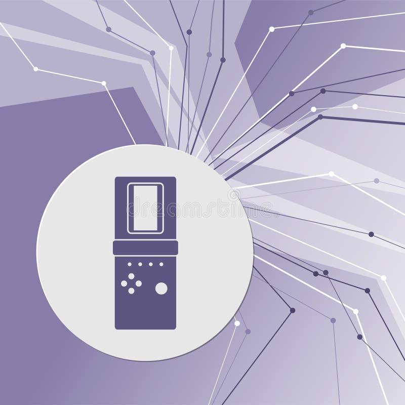Tetris ikona na purpurowym abstrakcjonistycznym nowożytnym tle Linie w wszystkie kierunkach Z pokojem dla twój reklamy ilustracja wektor