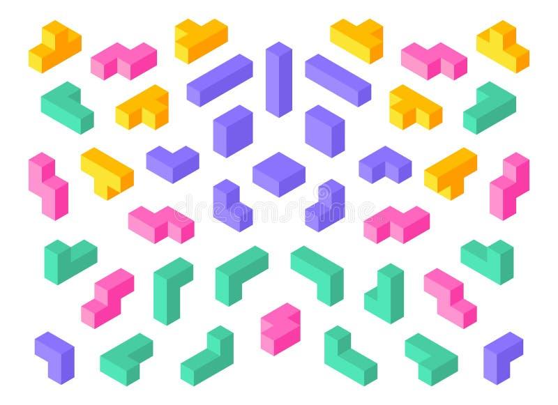 Tetris kształty Isometric 3D łamigłówki gemowych elementów sześcianu abstrakta kolorowi bloki Wektorowi isometric tetris projekta ilustracja wektor