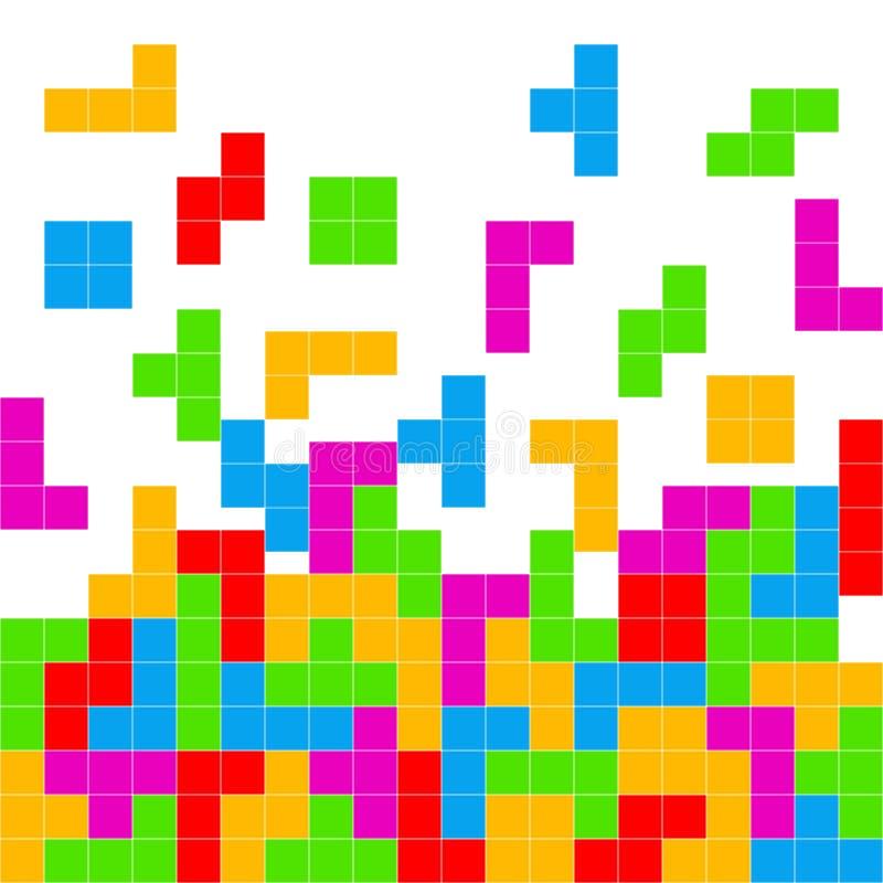 Tetris lek som spelar bakgrund vektor illustrationer