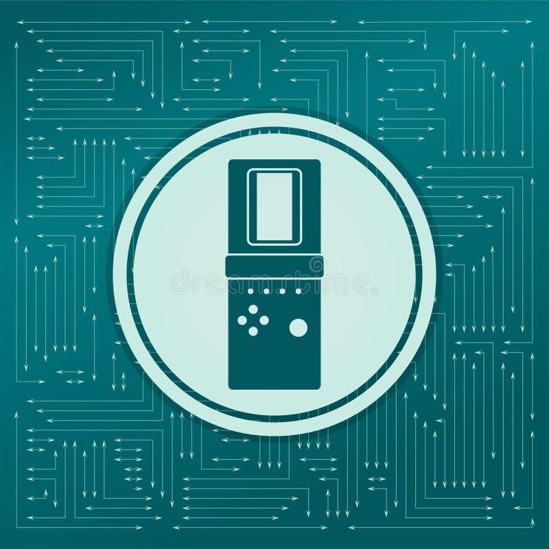 Tetris-pictogram op een groene achtergrond, met pijlen in verschillende richtingen Het verschijnt op de elektronische raad stock illustratie