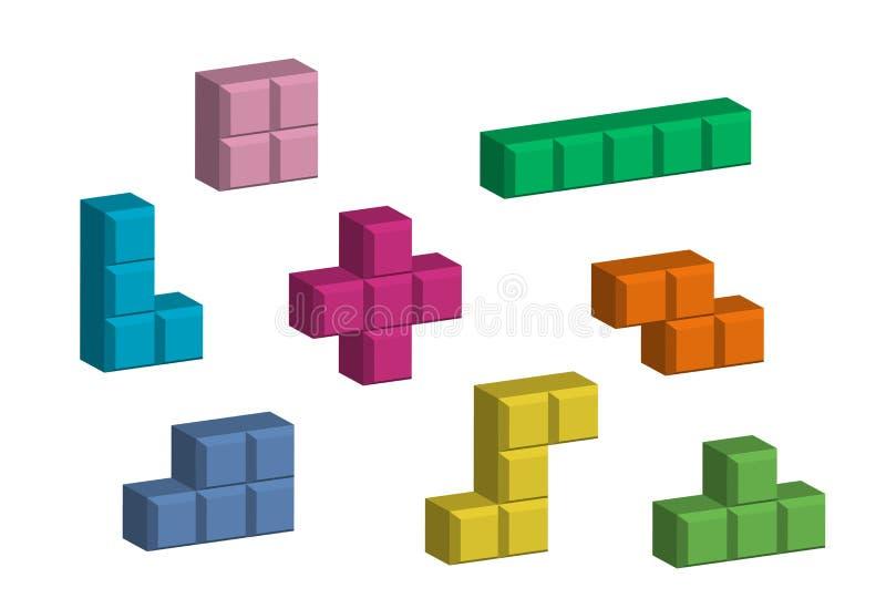 Tetris-Stücke lizenzfreie abbildung