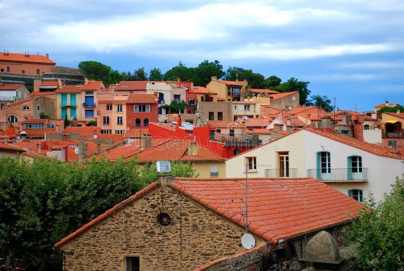 Tetti Colourful in Collioure fotografia stock