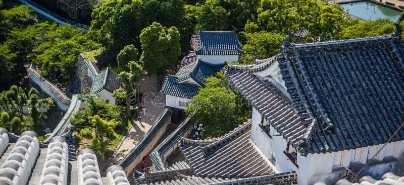 Tetti del castello di Himeji fotografia stock libera da diritti