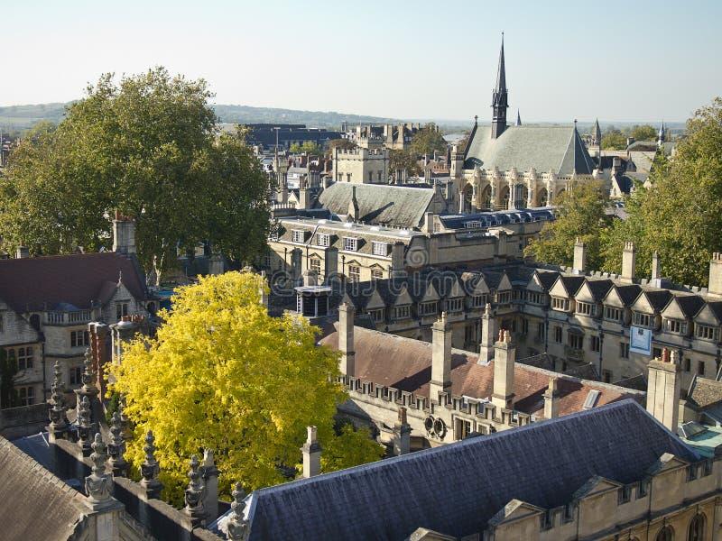 Tetti dell'Università di Oxford fotografie stock libere da diritti