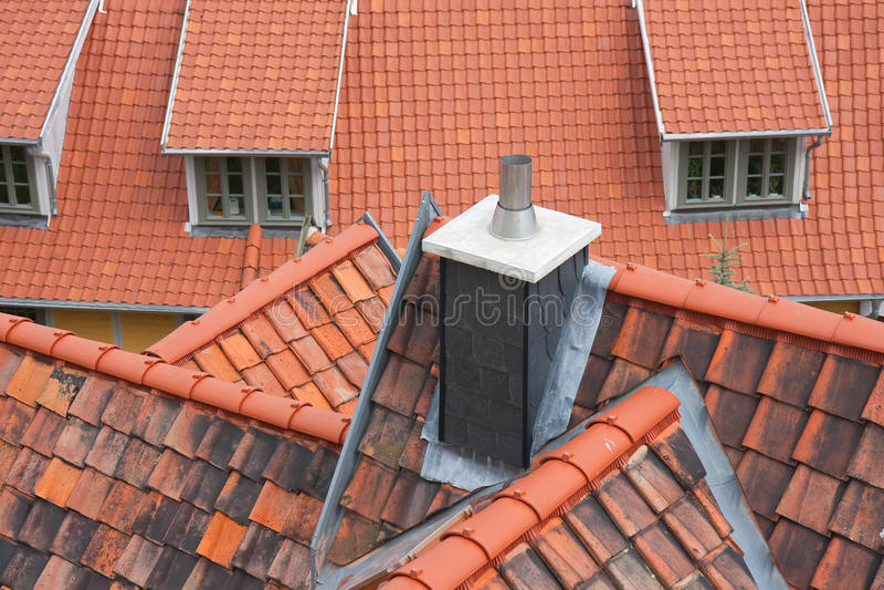 Tetti rossi di Quedlinburg fotografie stock libere da diritti
