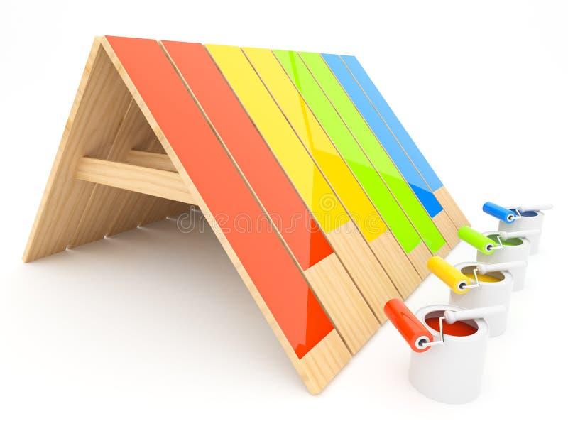 Tetto di legno verniciato 3D. Costruzione della casa royalty illustrazione gratis