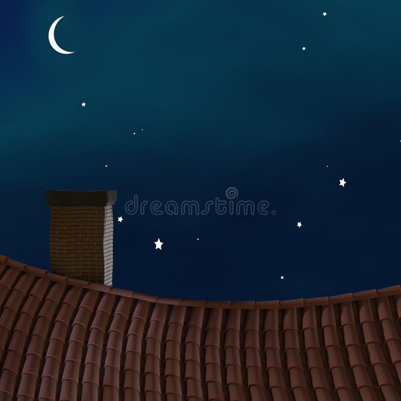 Tetto di notte. illustrazione vettoriale