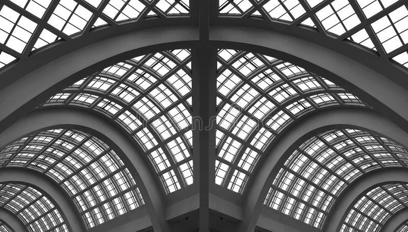 Tetto di vetro dell'arco - costruzione fotografie stock libere da diritti