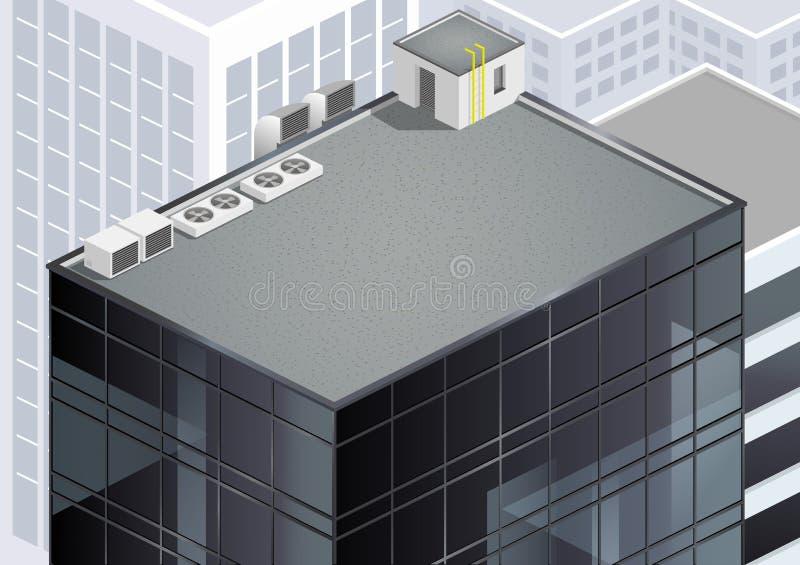Tetto isometrico del grattacielo illustrazione vettoriale