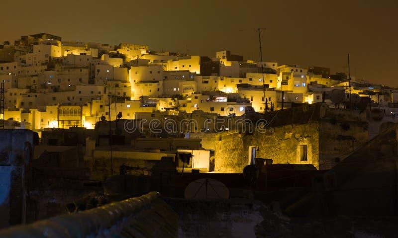 Tetuan på natten, Marocko fotografering för bildbyråer
