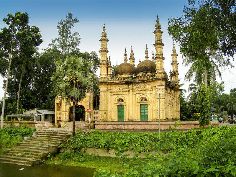 Tetulia shahi six dome mosque in satkhira, Bangladesh. This beautiful old six dome mosque is situated in Satkhira district in Bangladesh. I visited this mosque stock photo