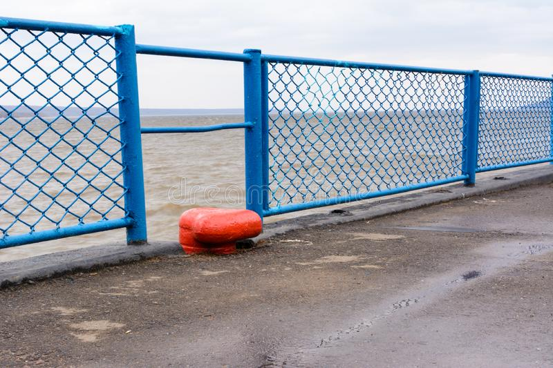 Tetyushi, Tatarstan / Russia - May 2, 2019: Empty passenger river port on the Volga River on a rainy day. Problems of the inland stock images