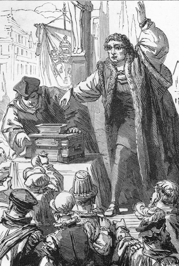 Tetzel selling indulgenses. Line drawing of Tetzel selling indulgenses, the incident that prompted Martin Luther to challenge the Roman Catholic Church in 1517