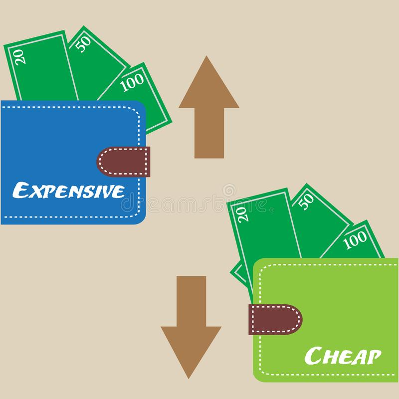 Teuer und billig stock abbildung