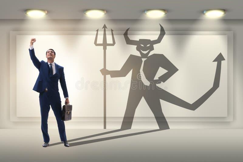 Teufel, der im Gesch?ftsmann - alter ego-Konzept sich versteckt lizenzfreie stockfotos