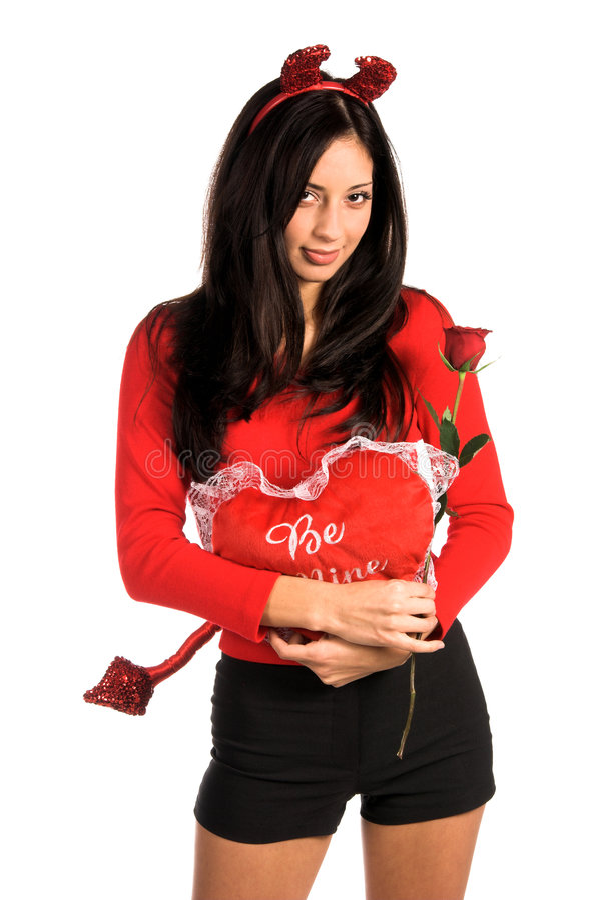Teufel-Frauen-Valentinsgruß lizenzfreie stockbilder