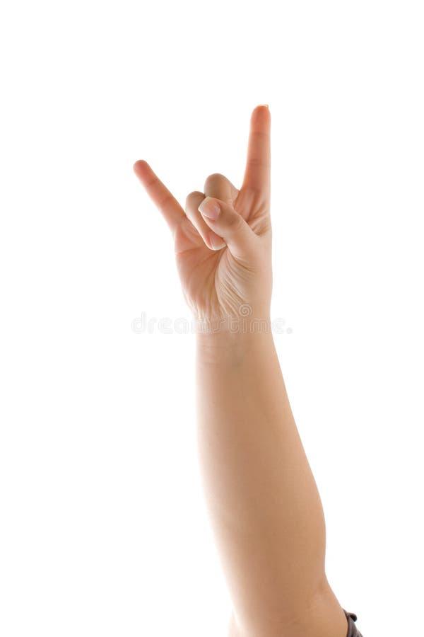 Teufel-Hupen-Hand stockbild